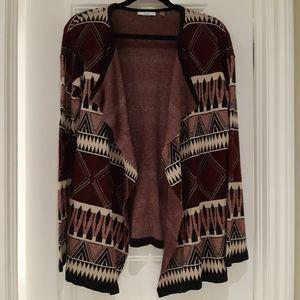 Dex Aztec designed open cardigan sweater